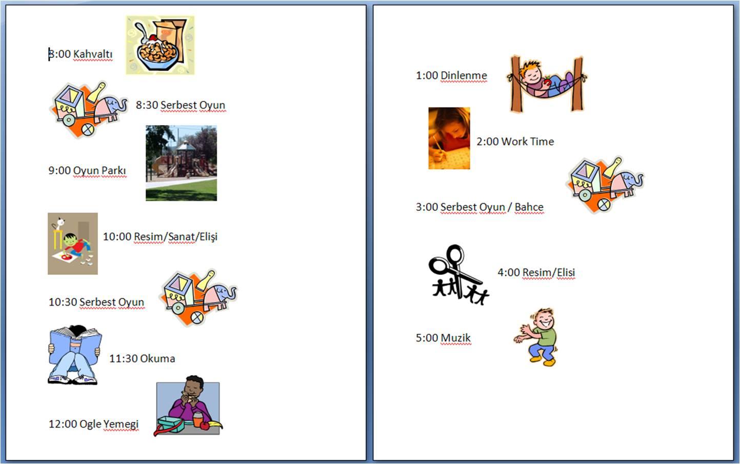 Çocuklara günlük program