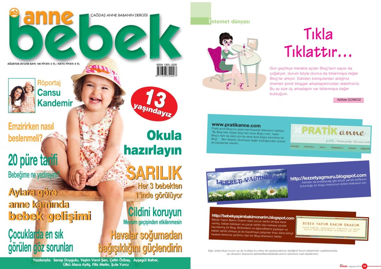 PratikAnne.com Anne Bebek Dergisi Ağustos sayısında